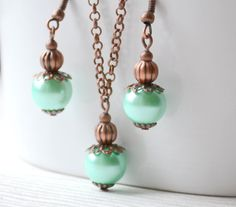 Mint Bridesmaid Jewelry set Rustic mint by LaurinWedding on Etsy, $14.00