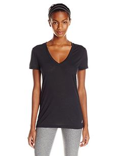 adidas Performance Womens 24 Seven Deep VNeck Tee Black Medium ** Read more reviews of the product by visiting the link on the image.Note:It is affiliate link to Amazon.