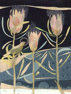 when it is dark enough you can see the stars greybacked silvereye and pink ice protea. Protea Art, Art Floral, Original Artwork, Original Paintings, Creative Artwork, Indigenous Art, Small Art, Aboriginal Art, Art Tutorials