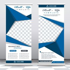 Blue origami roll up banners Free Vector