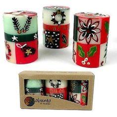 Set of Three Boxed Hand-Painted Candles - Ukhisimui Design - Nobunto