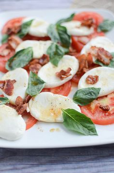 Caprese Salad with Warm Bacon Dressing - bacon makes everything better!