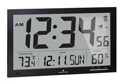 MARATHON CL030062BK Slim-Jumbo Atomic Digital Wall Clock with Temperature, Date and Humidity (Black) Wall Clock With Temperature, Best Wall Clocks, Digital Wall, Digital Alarm Clock, Marathon, Dating, Slim, Black, Quotes