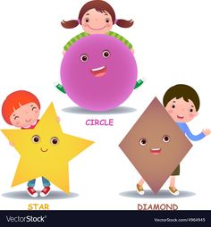 Cute little cartoon kids with basic shapes star Vector Image Bulletin Board Design, Feather Mobile, Teaching Geometry, Basic Shapes, Cartoon Kids, Happy Kids, Kids Education, Pre School, Preschool Activities