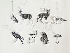 8 Deko Waldtiere-Anhänger oder Geschenkanhänger // gift tags or Christmas tree decoration with forest animals via dawanda.com