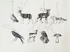 8 Deko Waldtiere-Anhänger oder Geschenkanhänger // gift tags or Christmas tree decoration with forest animals via dawanda.com