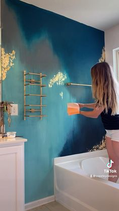 Room Wall Colors, Watercolor Walls, Accent Walls, Diy Wall Art, Paint Designs, House Painting, Gold Leaf, Wall Design, Home Interior Design