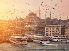 View of evening Istanbul from the Galata BridgeA flock of birds against the background of the Suleymaniye Mosque Amazing Destinations, Vacation Destinations, Vacations, Vogue Paris, Naples, Melbourne, Corcovado National Park, Le Cap, Myers Briggs Personality Types