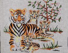 Large Tiger Family Wild Cat Tree Vintage HandPainted hp Retro Needlepoint Canvas