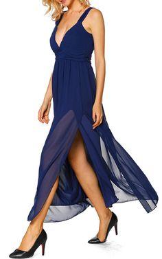 Deep V Blue Maxi Dress by Jane via @bestmaxidress