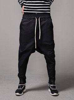 Drop Crotch Ankle Zip Jogger Pants $48.60  #men #fashion #style #street #jogger #pants #dropcrotch #ankle #black