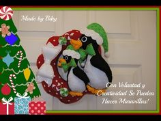 CORONA CON PINGUINOS NAVIDEÑOS TUTORIAL 2015 - YouTube