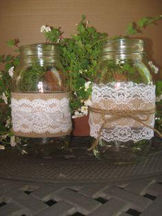 "BURLAP LACE MASON Jar ""Sleeves"" Summer Wedding Rustic, Farm House, Shabby chic, ocean Glass Decoration. $13.50, via Etsy."