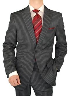 Gino Valentino 2 Button Men's Suit Peak Lapel Ticket Pocket Charcoal Chalkstripe Charcoal