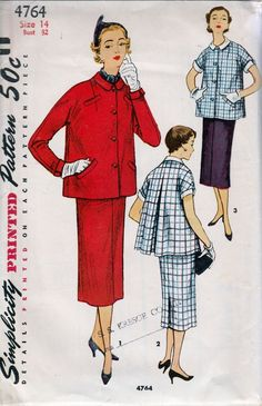 simplicity 4764 maternity suit jacket skirt vintage 1950's pattern