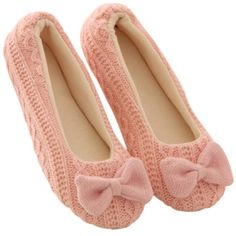 Malloom Women Home Cosy Slippers Bowknot Knit Cashmere Warm Yoga... ($7.99) ❤ liked on Polyvore featuring shoes and slippers