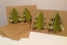 Rustic Sewn Christmas Tree Note Cards  Set by UglyChristmasShoppe