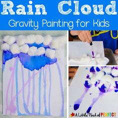 Rain Cloud Gravity Painting for Kids - A fun and easy process art activity! And a great way to add in some extra learning about the water cycle and rain. Kindergarten Art Activities, Art Activities For Toddlers, Painting Activities, Spring Activities, In Kindergarten, Preschool Crafts, Weather Activities, Preschool Weather, Weather Crafts