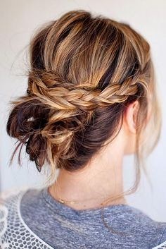 Updo Hairstyles for Short Hair: Messy Braided Bun #hairstyles #updos #shorthairstyles
