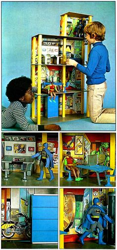 mego playsets | Mego's Wayne Foundation playset with Batman and Robin.Scanned from ...