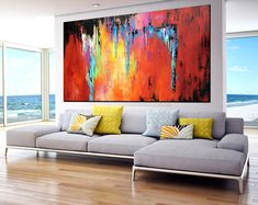 Extra Large Abstract painting, Large Handmade Abstract Painting on canvas, contemporary wall art red yellow orange Metal Tree Wall Art, Framed Wall Art, Contemporary Abstract Art, Modern Art, Blue Tower, Modern Oil Painting, Abstract Canvas Art, Minimalist Art, Art Paintings