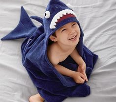 Pottery Barn Kids offers kids & baby furniture, bedding and toys designed to delight and inspire. Create or shop a baby registry to find the perfect present. Shark Halloween, Dino Kids, Sharks For Kids, Kids Hooded Towels, Kids Wraps, Towel Animals, Girls Swimming, Kids Store, Pottery Barn Kids