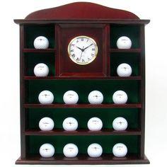 Stunning Solid Wood Golf Ball Holder with Quartz Clock