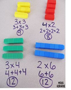 to Teach Arrays - a lot of great ideas for arrays and repeated addition - small groups activities, centers, worksheets etc.How to Teach Arrays - a lot of great ideas for arrays and repeated addition - small groups activities, centers, worksheets etc. Maths 3e, Multiplication Activities, Multiplication And Division, Math Activities, Numeracy, Repeated Addition Multiplication, Division Activities, Multiplication For Kids, Math Fractions