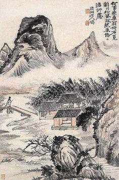 清-石涛-山水设色纸片   Painted by the Qing Dynasty artist Shi Tao 石涛.…   Flickr