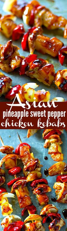 Asian Pineapple Sweet Pepper Chicken Kebabs