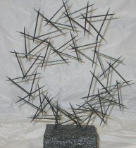 Linear Toothpick Sculpture.     Submitted by: Cyndi Koppelman, Saline High School, Saline, Michigan.  UNIT: Linear Sculpture - 3D Design.  Grade Level: High School (adaptable to middle school).