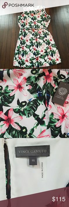 🎀1 HR SALE🎀 Vince Camuto 1x Dress Tropical print dress. NWT Vince Camuto Dresses