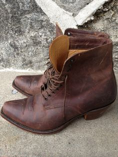Vintage brown leather lace up boots by nanapatproject on Etsy, $68.00