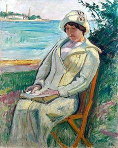 """Jean Puy (1876-1960),  """"Jeune femme lisant au bord de l'Odet"""", 1912"""