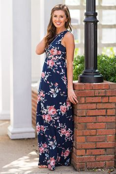 Floral Affections Maxi Dress, Navy