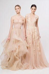Reem Acra peach wedding dresses