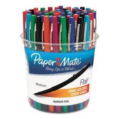 Paper Mate® Flair Felt Tip Marker Pen, Assorted Ink, Medium, 48 Pens/Set Cool School Supplies, Teacher Supplies, Art Supplies, Classroom Direct, Writing Correction, Felt Tip Markers, Marker Pen, Pen Sets, Colorful Drawings