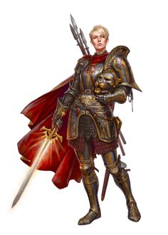 f Paladin Plate Armor Cloak Sword Javelins lvl Alexeara Cansellarion Paladin of Iomedae - Pathfinder PFRPG DND D&D fantasy Fantasy Armor, Medieval Fantasy, Dark Fantasy, Dnd Characters, Fantasy Characters, Female Characters, Female Armor, Female Knight, Lady Knight