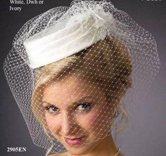Ivory Bridal Pillbox Hat and Birdcage Veil