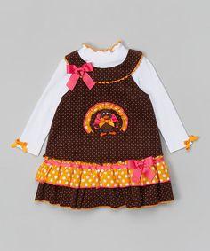 Look at this #zulilyfind! Brown Turkey Layered Dress - Infant, Toddler & Girls by Gerson & Gerson #zulilyfinds