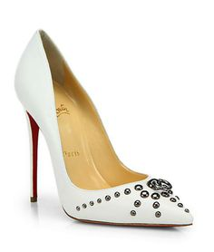 Christian Louboutin door knock pumps in white - the hot new shoe on redsoledmomma.com
