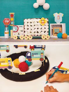 """Go Baby, Go!"" Baby Shower {Part 2 – Decor, Truck Diaper Cake & Tablescape}"