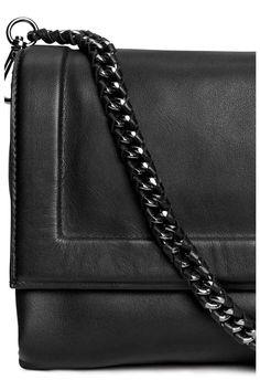 Sac bandoulière en cuir - Noir - FEMME   H&M FR