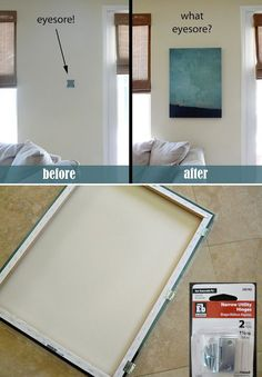 Hide a thermostat or home alarm with a canvas on hinges.