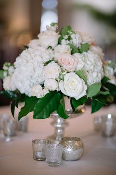 Centerpiece | Hydrangeas and Roses | On SMP | Photography: Troy Grover
