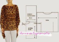 I Love Artigianato: Cartamodelli for free - women fashion Sewing Patterns Free, Clothing Patterns, Dress Patterns, Fashion Sewing, Diy Fashion, Kaftan Pattern, Top Pattern, Costura Fashion, Sewing Blouses