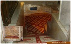 Underneath the Dome of the Rock The main picture above shows the stairways leading down to the small cave underneath the Dome of the Rock. The picture inset shows an internal view. History Of Islam, Dome Of The Rock, Mosques, Holy Land, Mecca, Palestine, Jerusalem, Islamic Art, Stairways