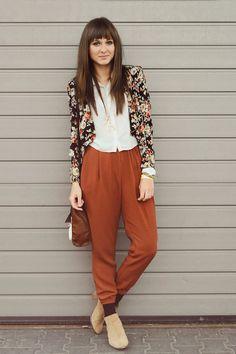 Floral blazer + brown pants + natural boots via www.chictopia.com