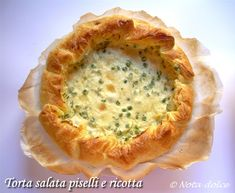Torta salata piselli e ricotta, ricetta vegetariana