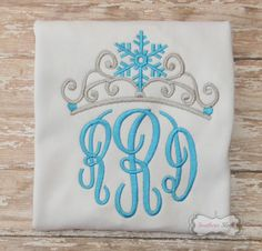 Monogram Crown Frozen Inspired Embroidered Shirt by SouthernSleek